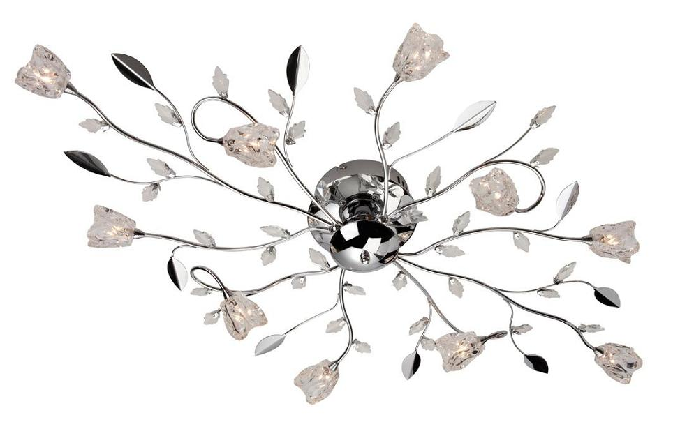 Firstlight Cindy Chrome 10 Light Flush Ceiling Light