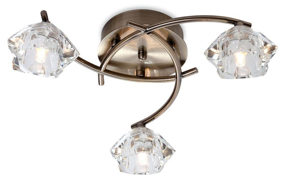 Firstlight Clara 3 Light Antique Brass Flush Ceiling Light