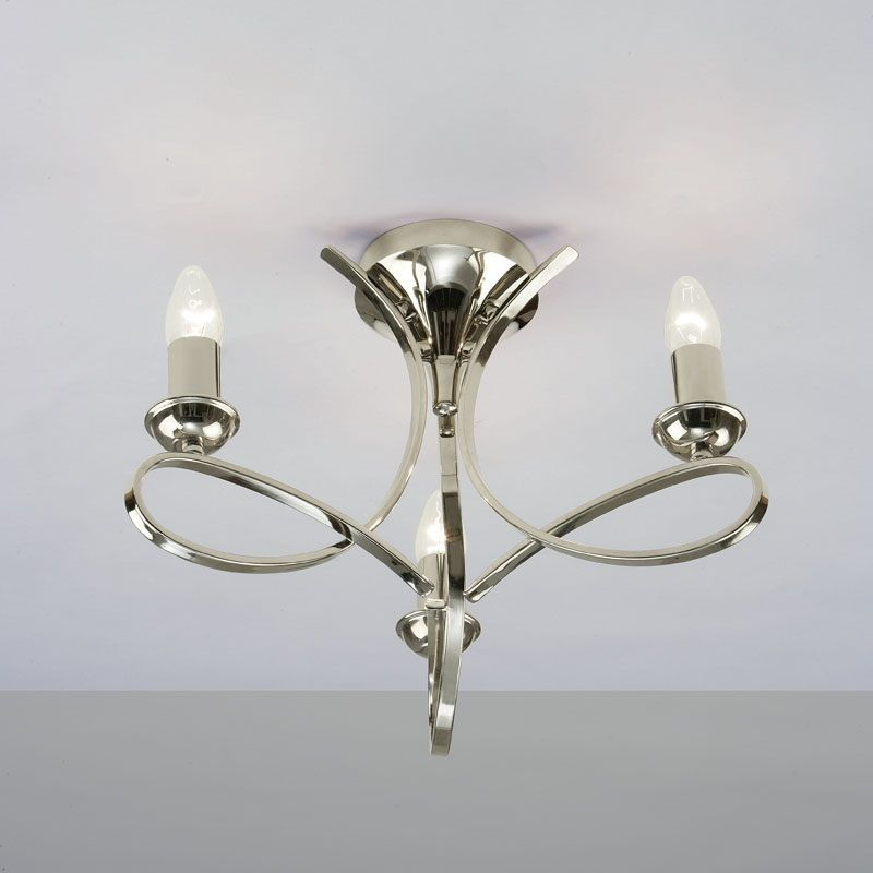 Flush Chandelier Ceiling Lights : Interiors penn ca p n light nickel semi flush