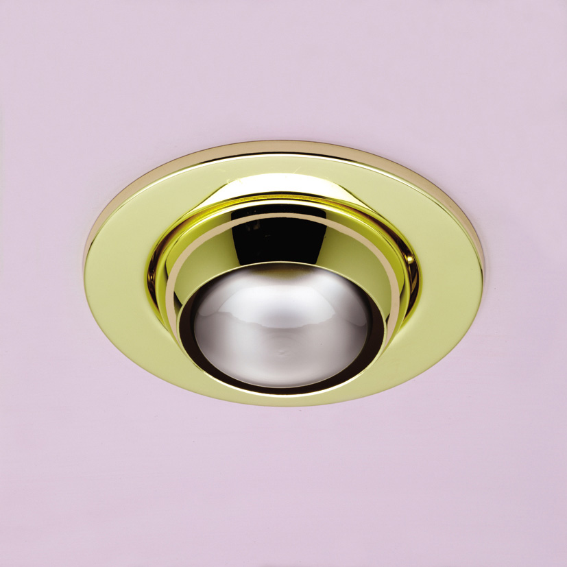 R63 Mains Voltage Eyeball Downlight Brass R63 Eyeball