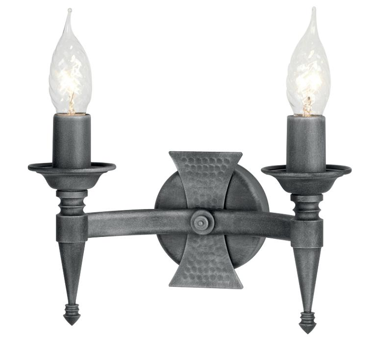 Elstead Saxon Double Wall Light Black Silver SAX2 BLK/SIL Elstead Lighting Luxury Lighting