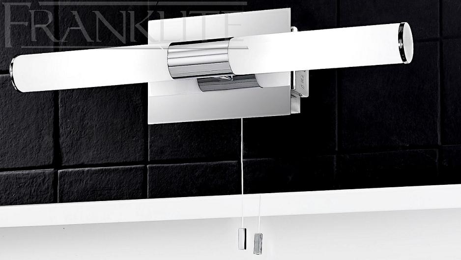 Firstlight Slimline Led Bathroom Wall Light In White: Franklite Slimline Chrome Bathroom Double Wall Light With