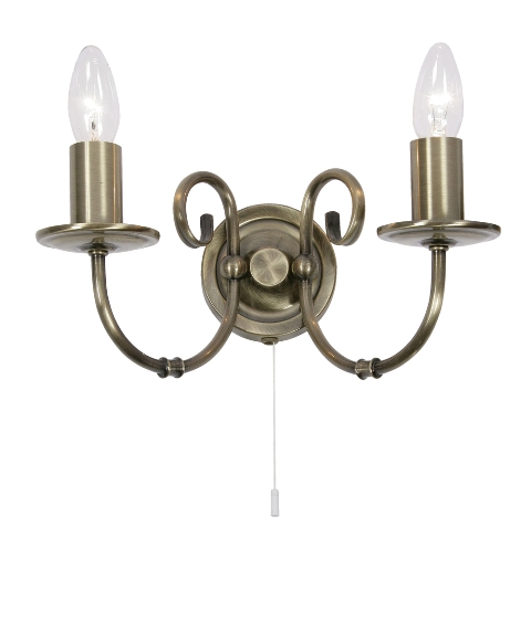 Oaks tuscany antique brass double wall light 3380 2 ab for Tuscany floor lamp antique brass