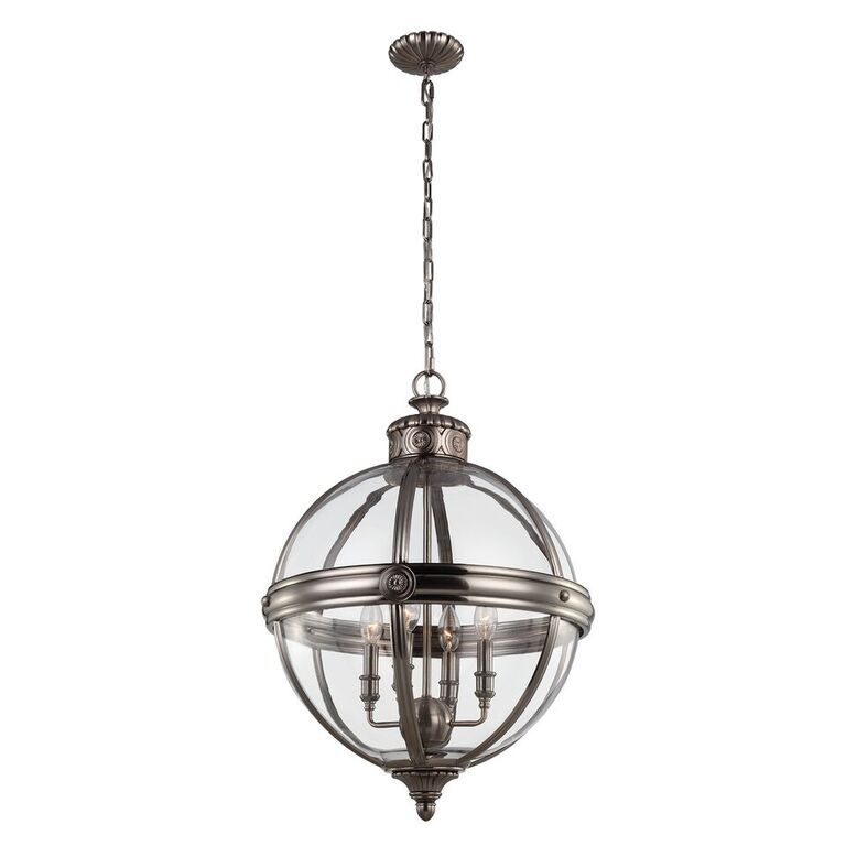 Elstead Adams Antique Nickel Large Interior Lantern | FE/ADAMS/4P ANL | Feiss Lighting | Elstead Lighting