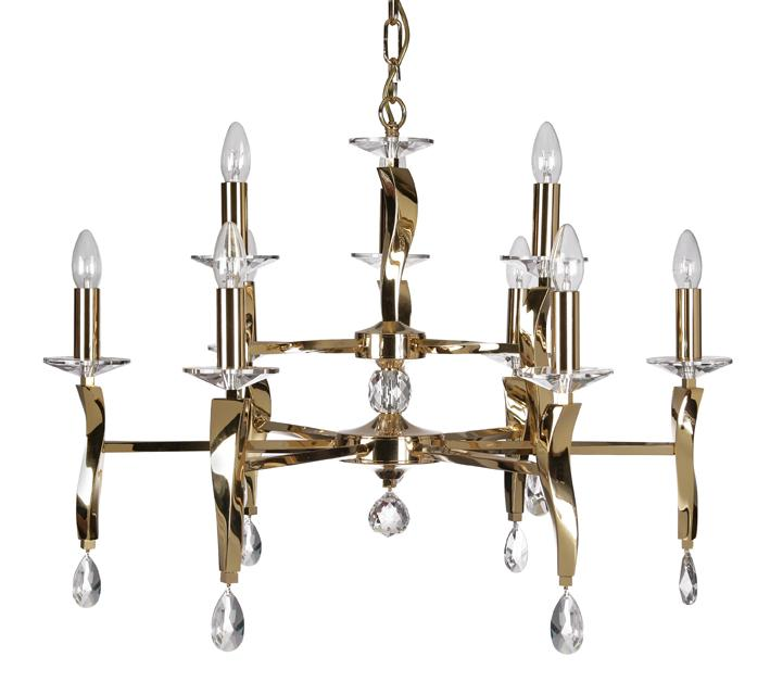 Oaks Aire 9 Light Two Tier Gold Chandelier | 719/6+3 GO | Oaks Lighting | Luxury Lighting