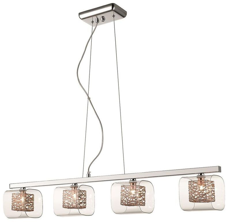 Anne 4 Light Copper Linear Ceiling Light Pendant | LLSANNCP4LP | Luxury Lighting
