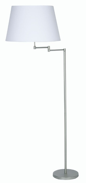 Oaks Armada Antique Chrome Swing Arm Floor Lamp with Shade | 722 FL AC | Oaks Lighting