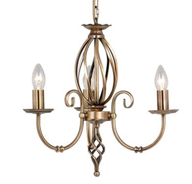 Artisan Aged Brass 3 Light Chandelier - Elstead Lighting