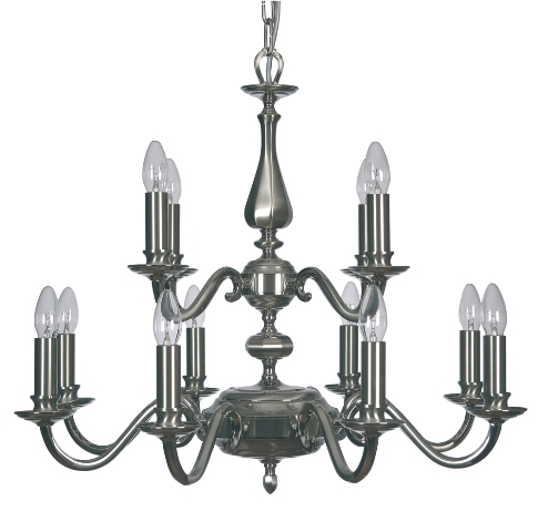 Aylesbury Satin Nickel 12 Light Chandelier - Oaks Lighting