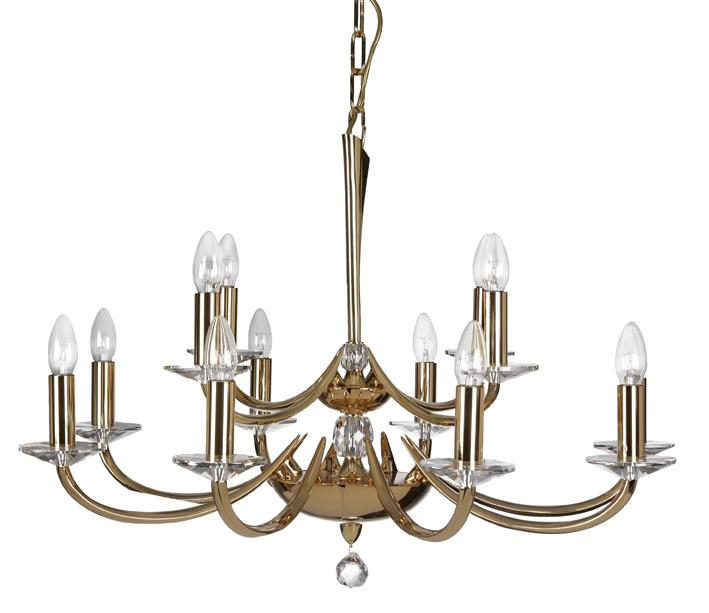 Oaks Bahia 12 Light Gold Chandelier | 715/8+4 GO | Oaks Lighting | Luxury Lighting