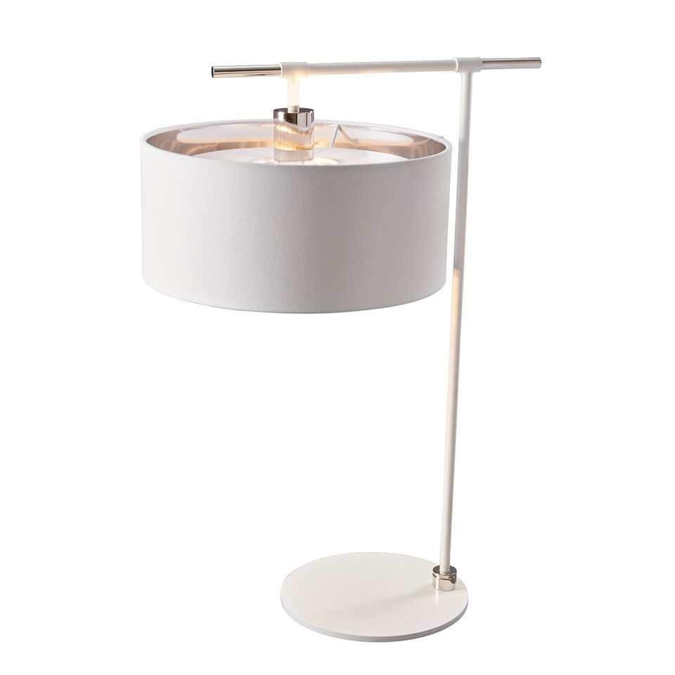 Elstead Balance White and Polished Nickel Table Lamp | BALANCE/TL WPN | Elstead Lighting