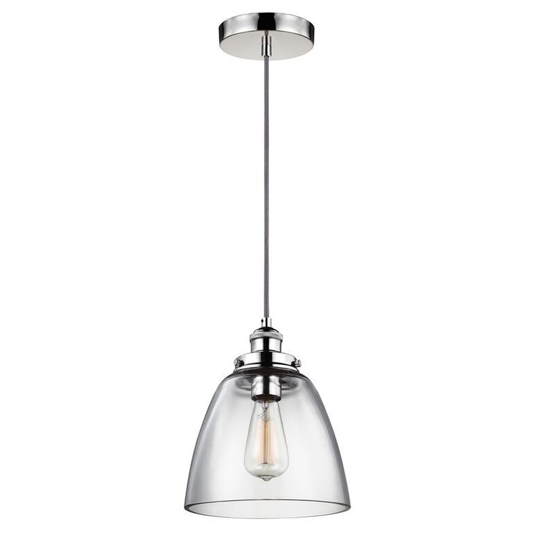 Elstead Baskin Polished Nickel Single Ceiling Light Pendant B | FE/BASKIN/P/B PN | Elstead Lighting | Feiss Lighting