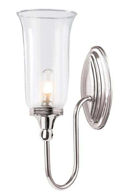 Elstead Blake Polished Nickel Bathroom Wall Light with Clear Glass Shade | BATH-BLAKE2-PN | Luxury Lighting