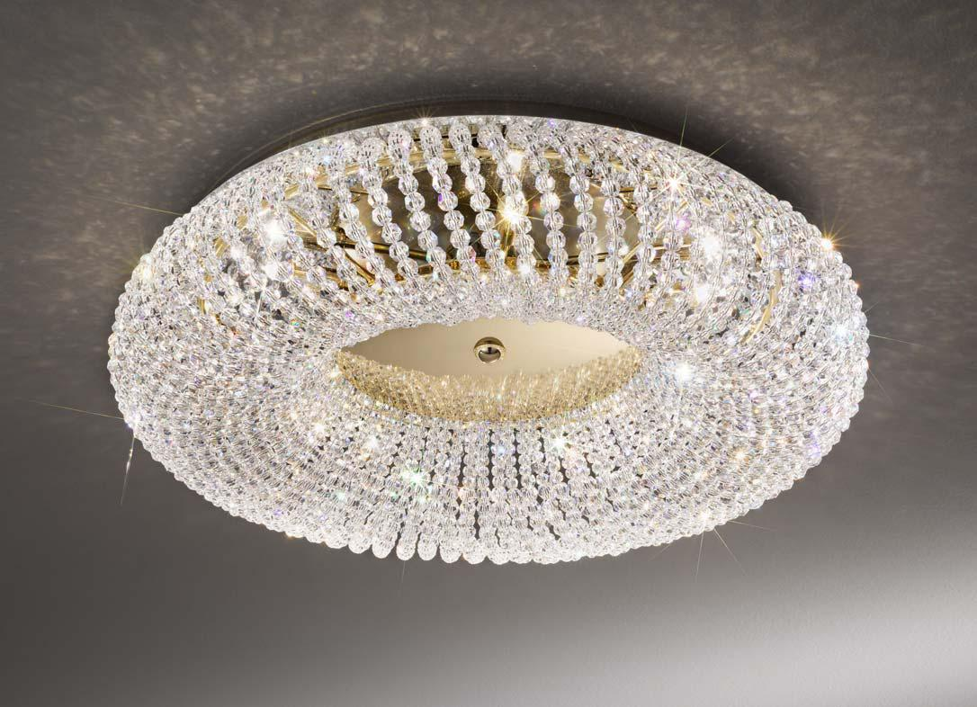 Kolarz Carla Gold 3 Light Crystal Flush Ceiling Light
