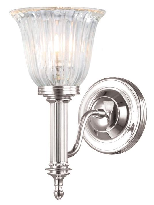 Elstead Carroll Polished Nickel Bathroom Wall Light with Ribbed Glass Shade | BATH/CARROLL1 PN | Elstead Lighting