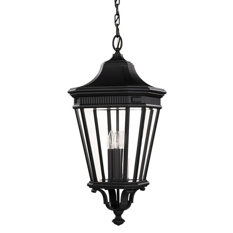 Elstead Cotswold Lane Black Large Chain Lantern | FE/COTSLN8/L BK | Feiss | Elstead Lighting