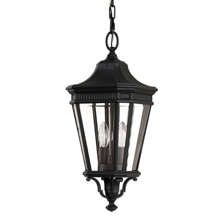 Elstead Cotswold Lane Black Medium Chain Lantern | FE/COTSLN8/M BK | Feiss | Elstead Lighting