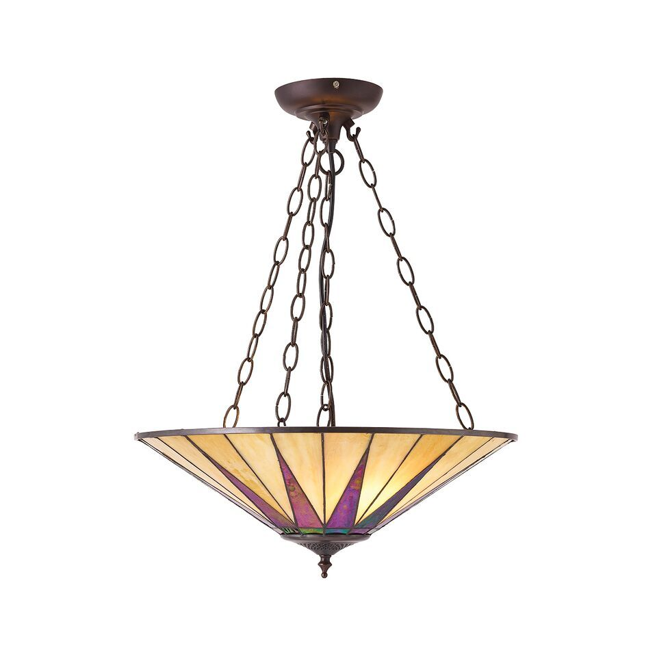 Interiors 1900 Dark Star 70754 Tiffany Inverted Ceiling Light Pendant | Luxury Lighting