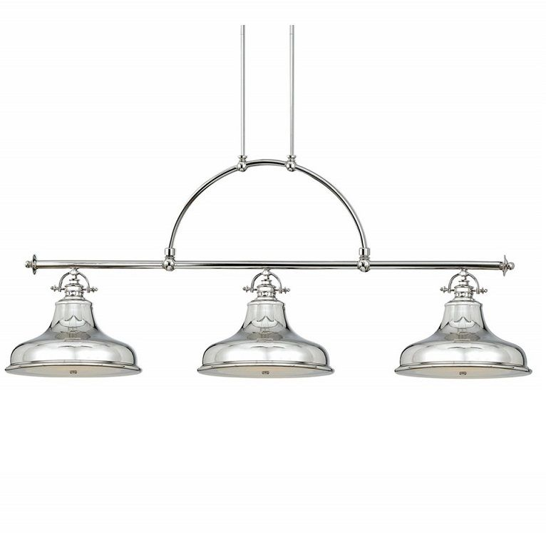 Elstead Emery 3 Light Linear Island Ceiling Pendant Imperial Silver Qz Emery3p Is Elstead