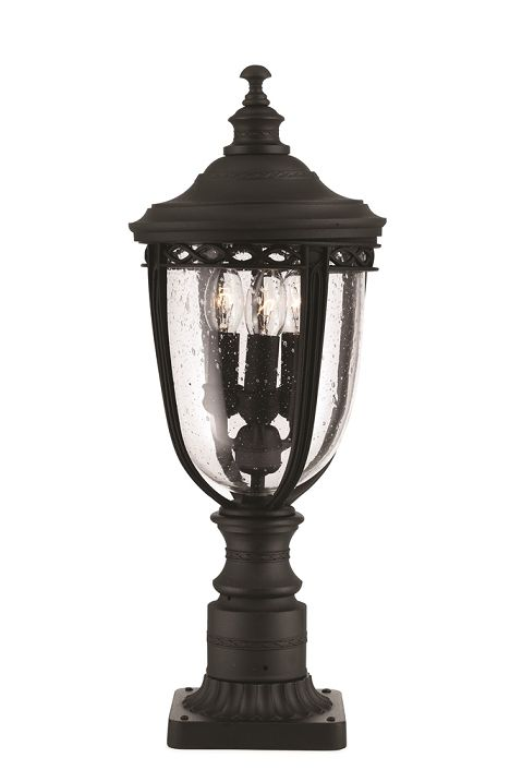 Elstead English Bridle Medium Pedestal Lantern Black Fe
