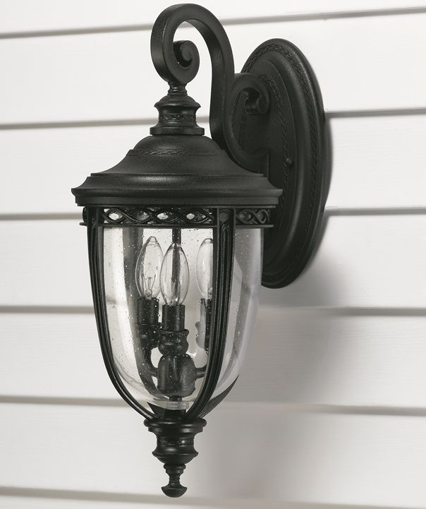 Feiss English Bridle Medium Pedestal Lantern Light Black: Elstead English Bridle Medium Wall Lantern Black