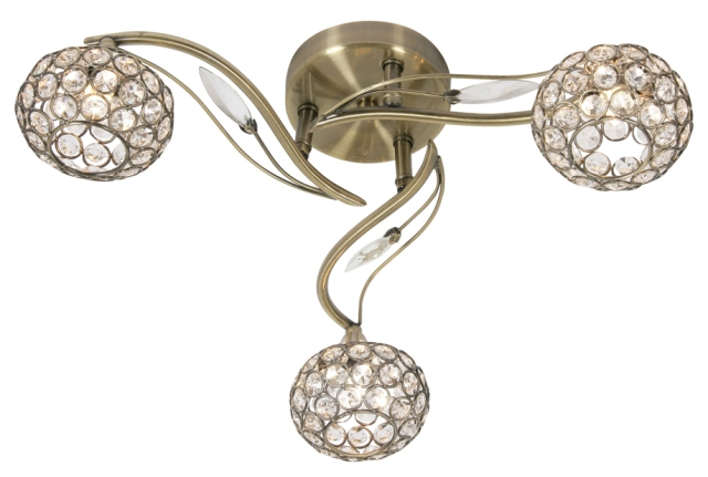 Oaks Esmee Antique Brass 3 Light Flush Ceiling Light | 3050/3 AB | Oaks Lighting | Luxury Lighting