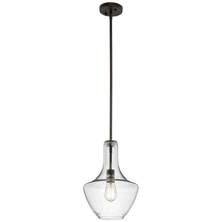 Elstead Everly Old Bronze Small Single Light Pendant | KL/EVERLY/P/S OZ | Kichler| Elstead Lighting | Luxury Lighting