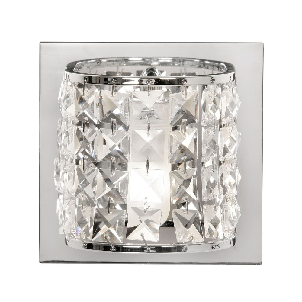 Oaks Glamour Crystal Bathroom Wall Light | 1696/1 CH | Oaks Lighting