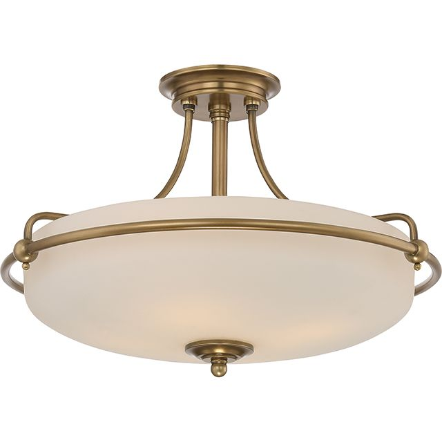 Elstead Griffin Medium Semi-Flush Ceiling Light Weathered Brass | QZ/GRIFFIN/SFM WS | Elstead Lighting | Quoizel