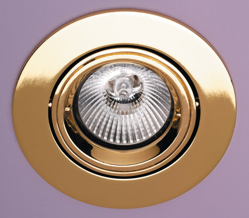 GU10 Mains Voltage Fire Rated Downlight Adjustable Brass