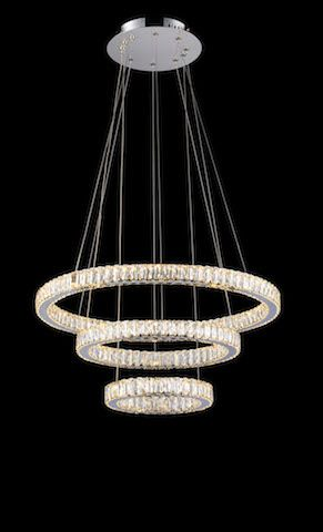 Avivo Halo Three Straight Tier Crystal LED Ceiling Light | PD1305-3A | Avivo Lighting | Luxury Lighting