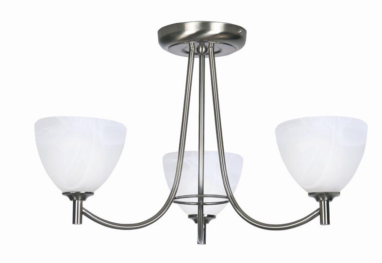 Oaks Hamburg Antique Chrome 3 Light Flush Ceiling Light | 1178/3 AC | Oaks Lighting | Luxury Lighting