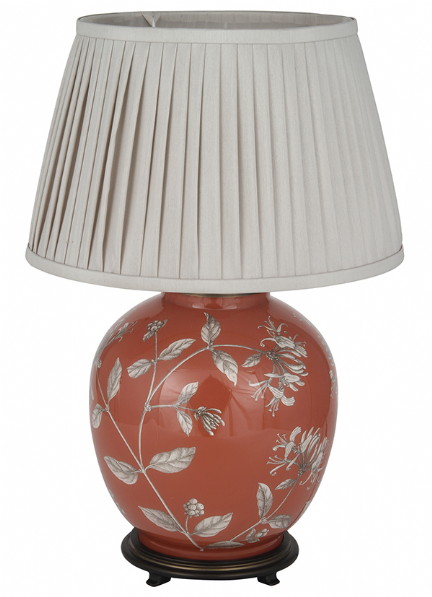 Honeysuckle On Book Room Red Large Round Table Lamp With Shade   Jenny  Worrall