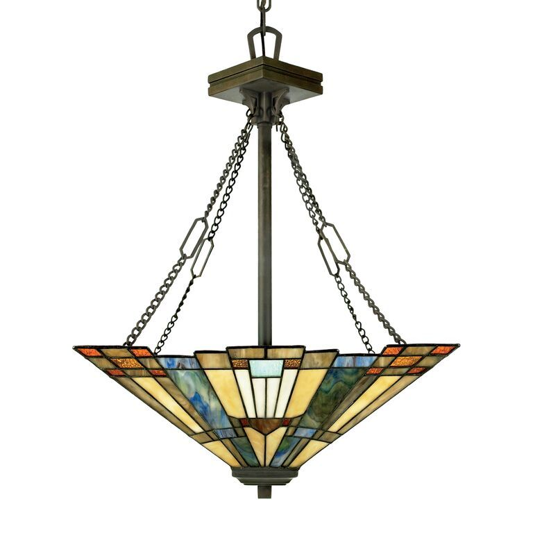 Elstead Inglenook Tiffany Style Uplighter Ceiling Light | QZ/INGLENOOK/P/B | Quoizel Lighting | Elstead Lighting | Luxury Lighting