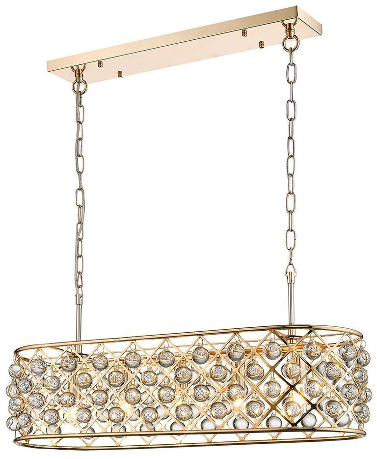 Laura Gold 5 Light Linear Island Crystal Ceiling Light Pendant | LLSLAUG5LP | Luxury Lighting