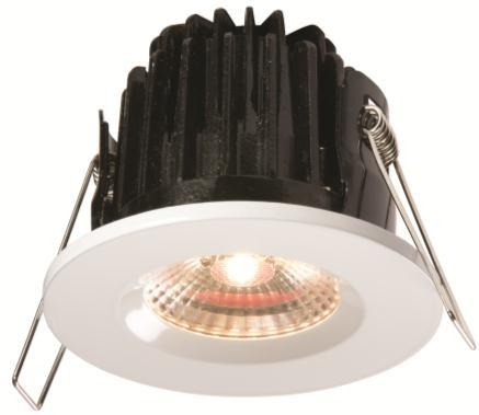 LED Fire Rated Downlight Fixed IP65 White 7 Watt Warm White