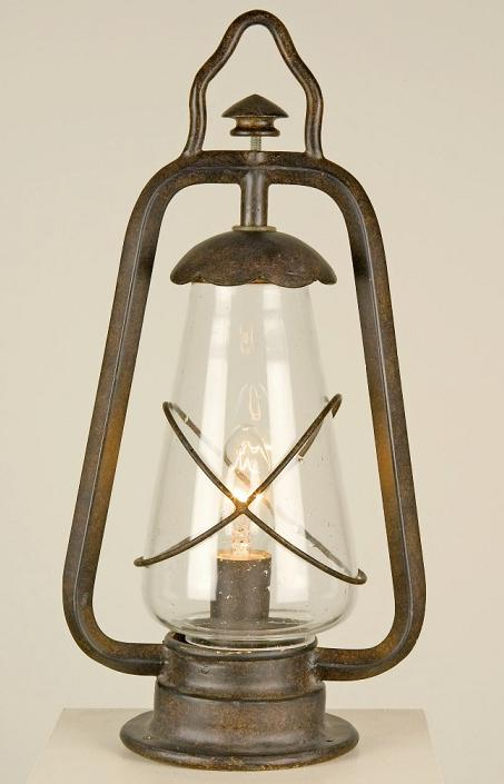 Miners pedestal lantern elstead lighting