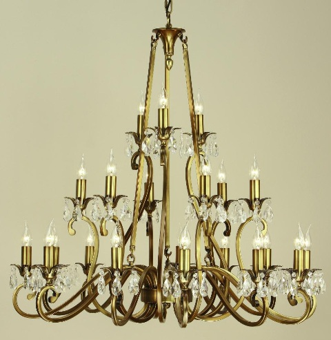 Oksana Antique Brass 21 Light Chandelier - Interiors 1900