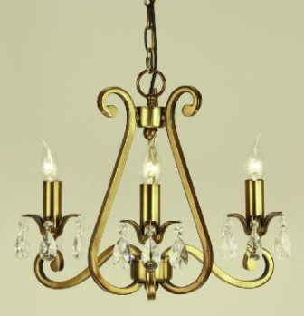 Oksana Antique Brass 3 Light Chandelier - Interiors 1900