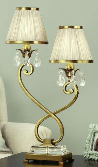 Interiors 1900 Oksana 63530 Double Table Lamp Antique Brass with Beige Shades | Luxury Lighting