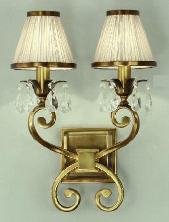 Oksana Antique Brass Double Wall Light with Beige Shades - Interiors 1900