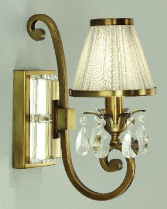 Oksana Antique Brass Single Wall Light with Beige Shade - Interiors 1900