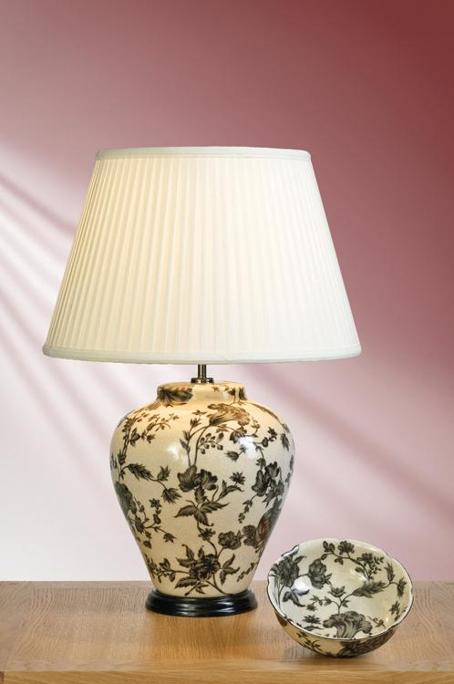 Elstead Peonies Traditional Table Lamp With Shade