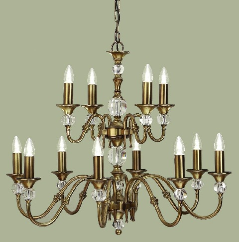 Polina Antique Brass 12 Light Chandelier - Interiors 1900
