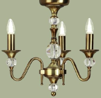 Polina Antique Brass 3 Light Chandelier - Interiors 1900