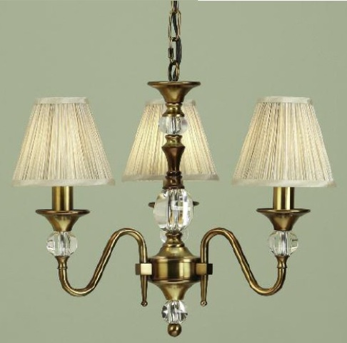 Polina Antique Brass 3 Light Chandelier with Beige Shades - Interiors 1900