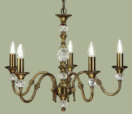 Interiors 1900 Polina LX124P5B 5 Light Antique Brass Chandelier | Luxury Lighting