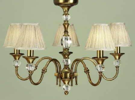 Polina Antique Brass 5 Light Chandelier with Beige Shades - Interiors 1900