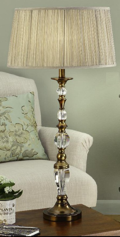 Interiors 1900 Polina 63593 Large Antique Brass Table Lamp With Beige Shade | Luxury Lighting