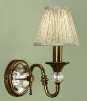 Polina Antique Brass Single Wall Light with Beige Shade - Interiors 1900